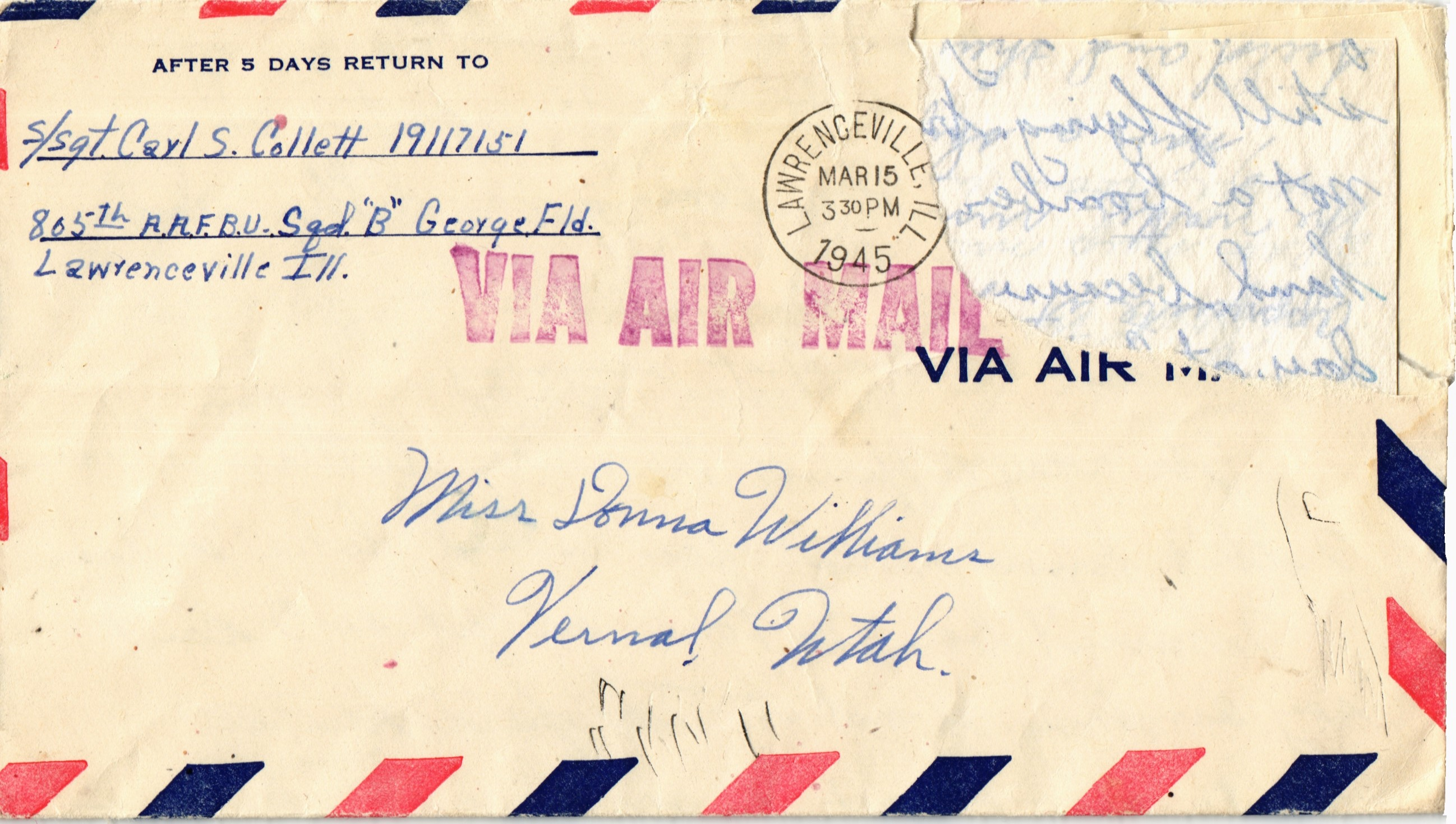 WWII Letter from Carl to Donna