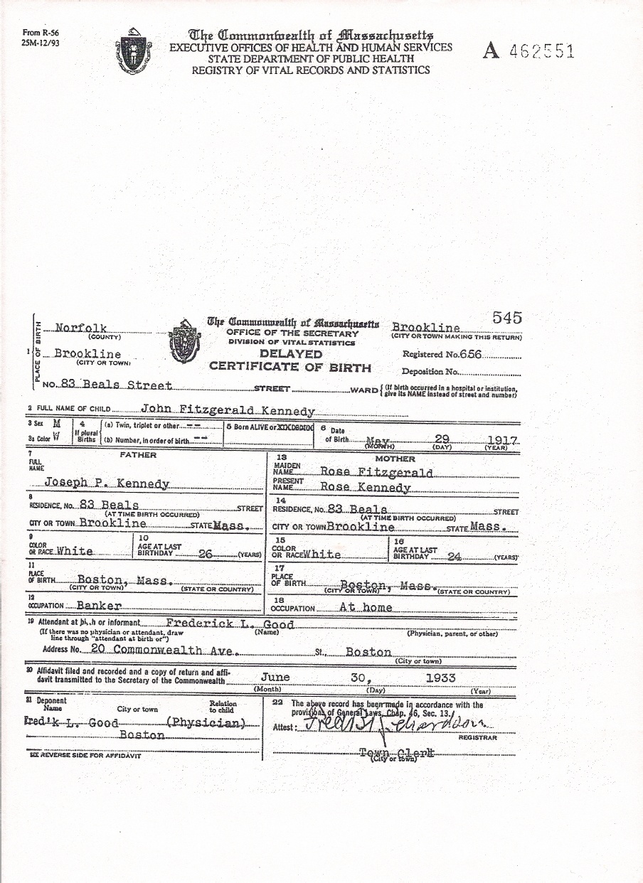 Documents Birth Certificate Of John F Kennedy My Family Online