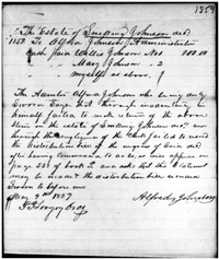 Jasper County, Georgia Probate File for the Estate of Snelling Johnson in 1859