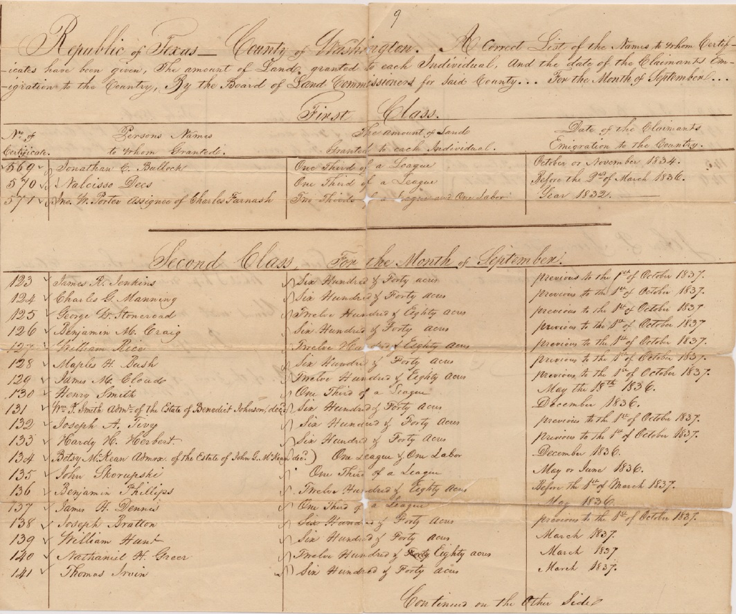 Republic of Texas - County of Washington - List of land certificates for September 1838