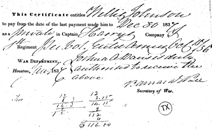 Texas Revolution Military Payment Records for Willis Johnson