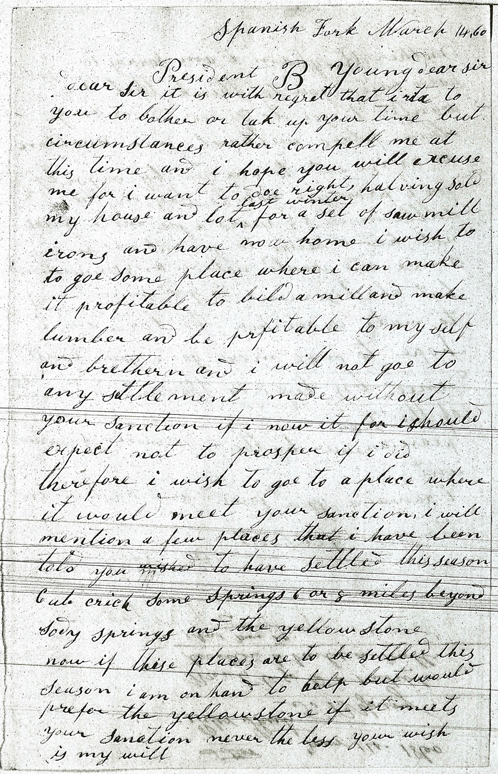 Peter Shirts Letter to Brigham Young requesting relocation of Spanish Fork saw mill
