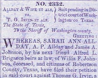 Allday case 2332 vs Johnsons - Suit over slave named Allen of Willis Johnson