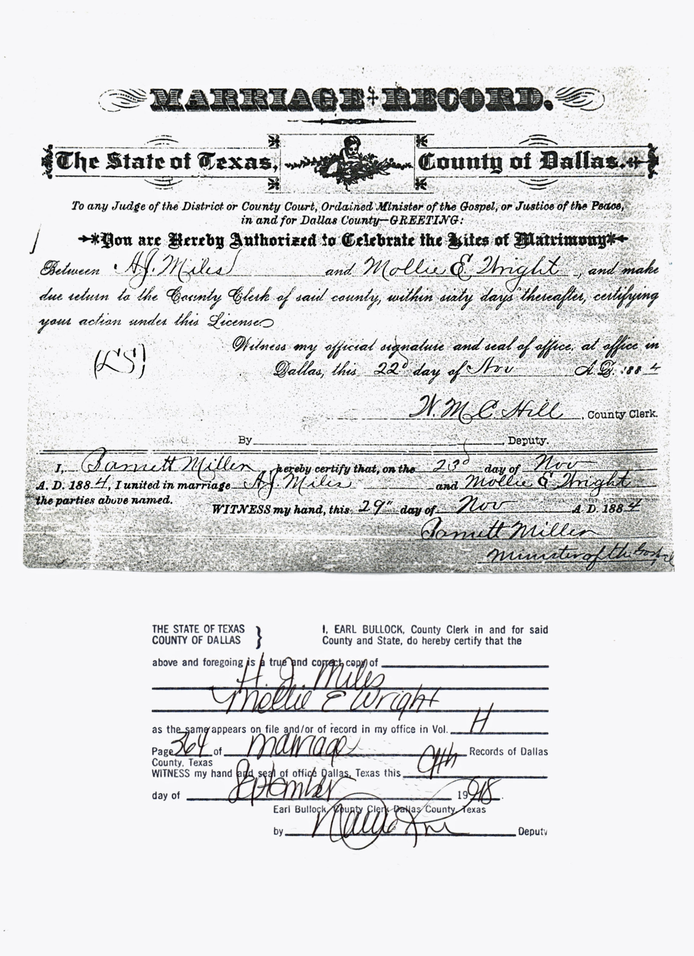 Documents Marriage Certificate For Andrew Jackson Miles And Mollie