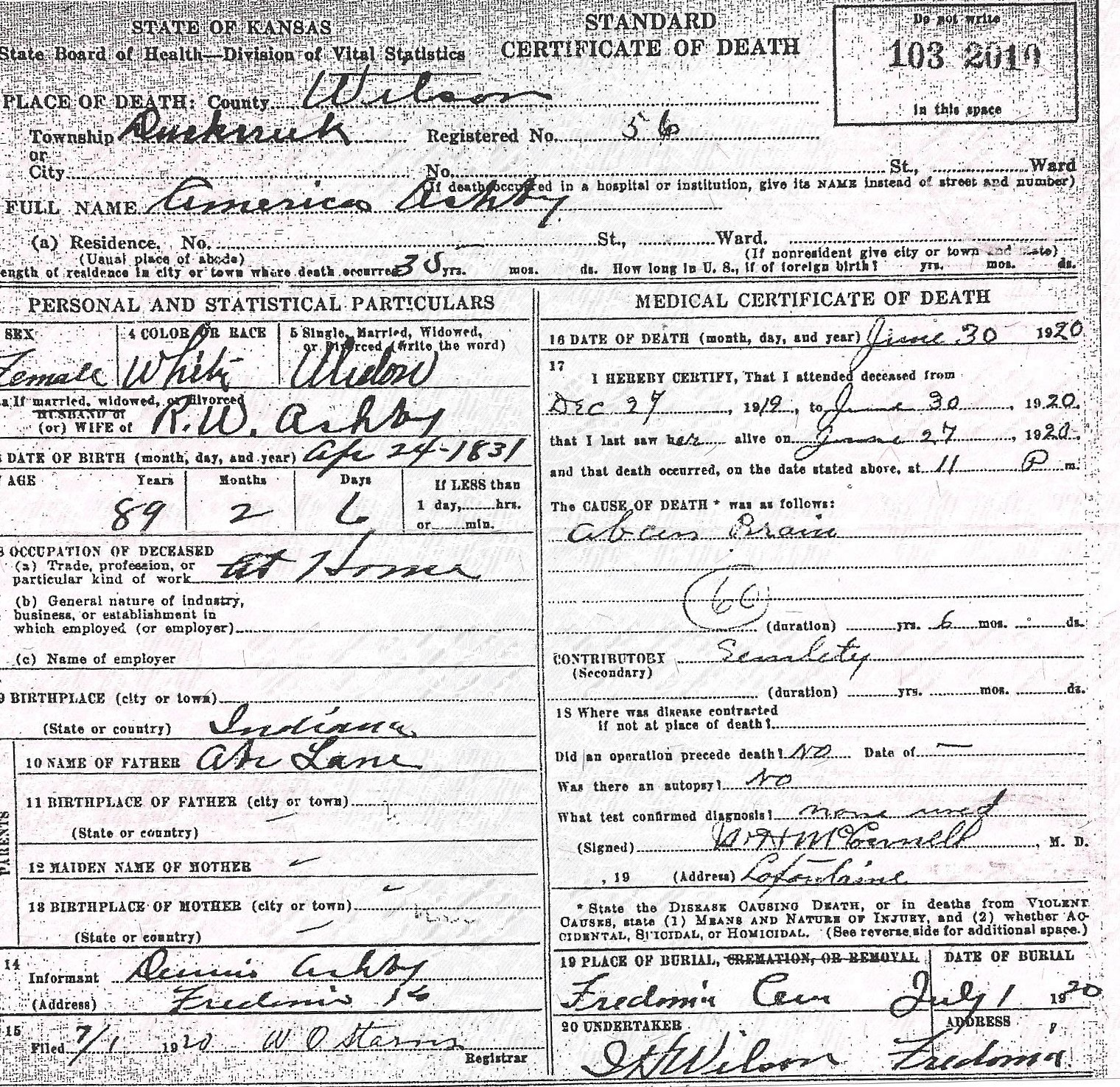 Documents America Lainlane Ashby Death Certificate My Family Online