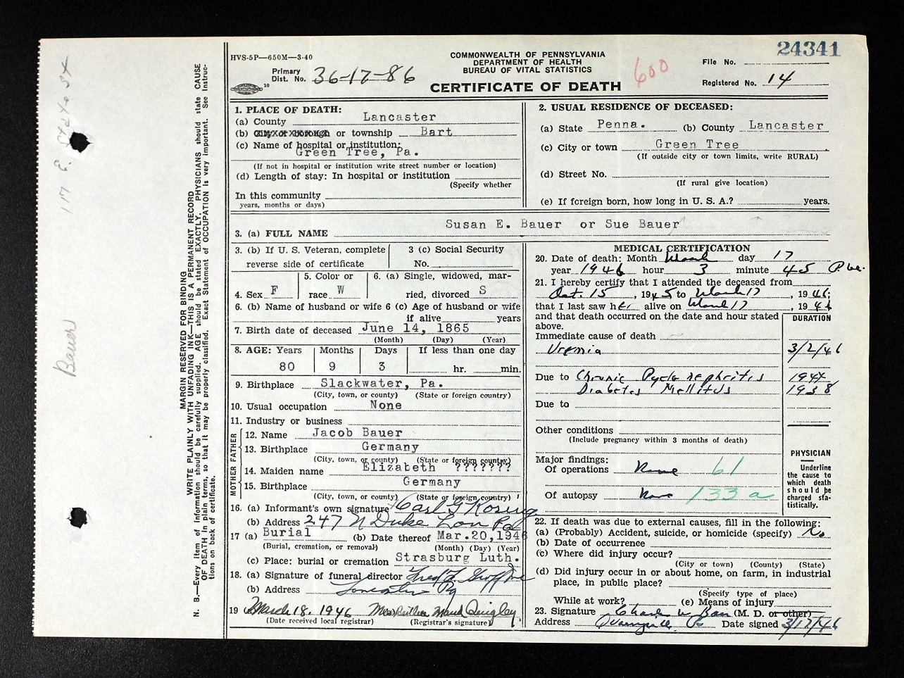 Documents Death Certificate For Susan E Bauer 1865 1946 My