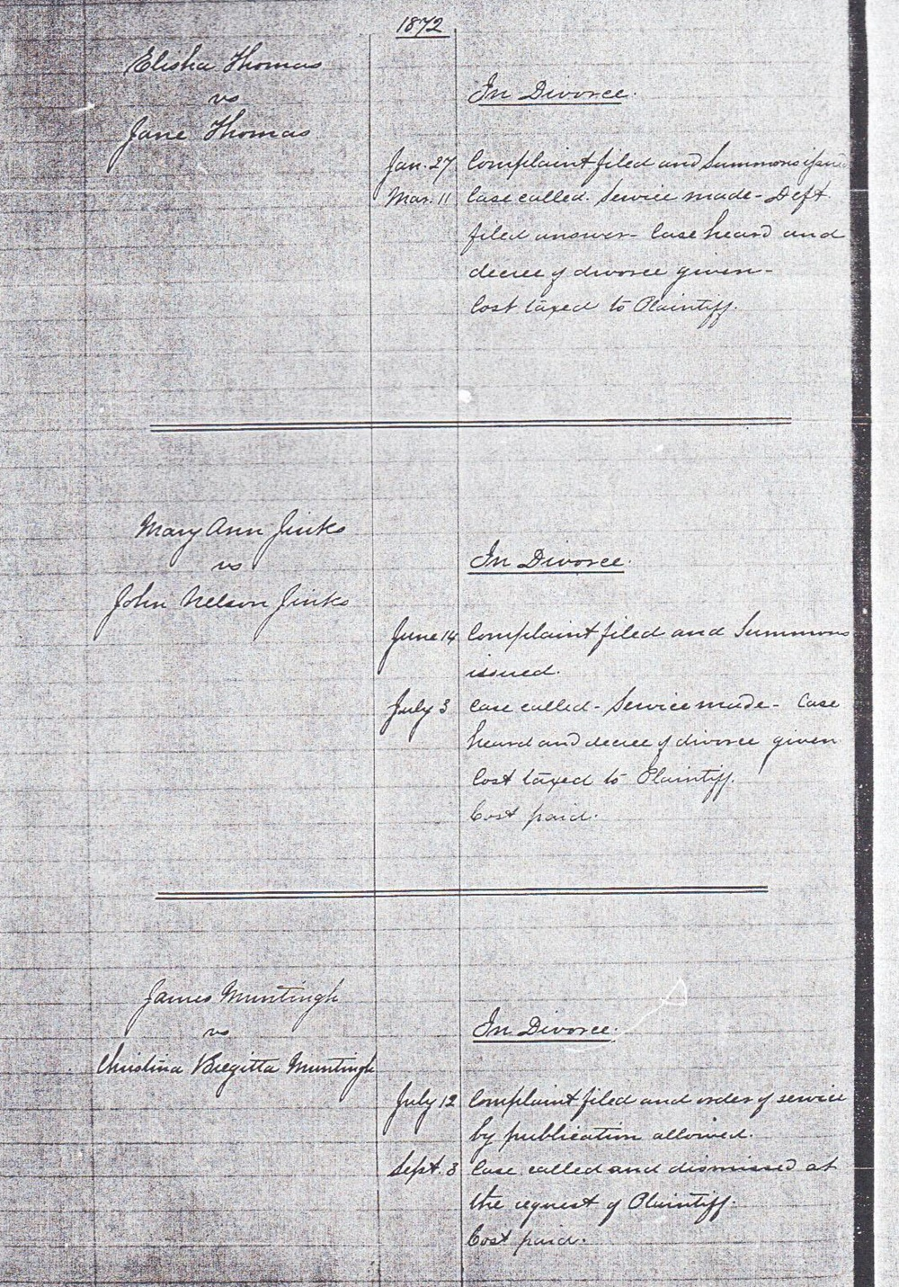 1872 Divorce of Mary Ann Jinks and John Nelson Jinks