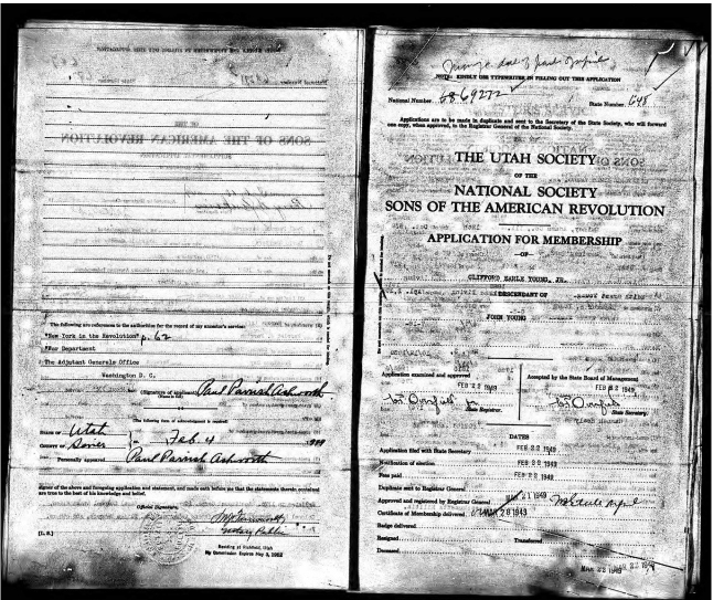 Clifford Earle Young Jr.: Sons of American Revolution Application: 22 Feb 1949