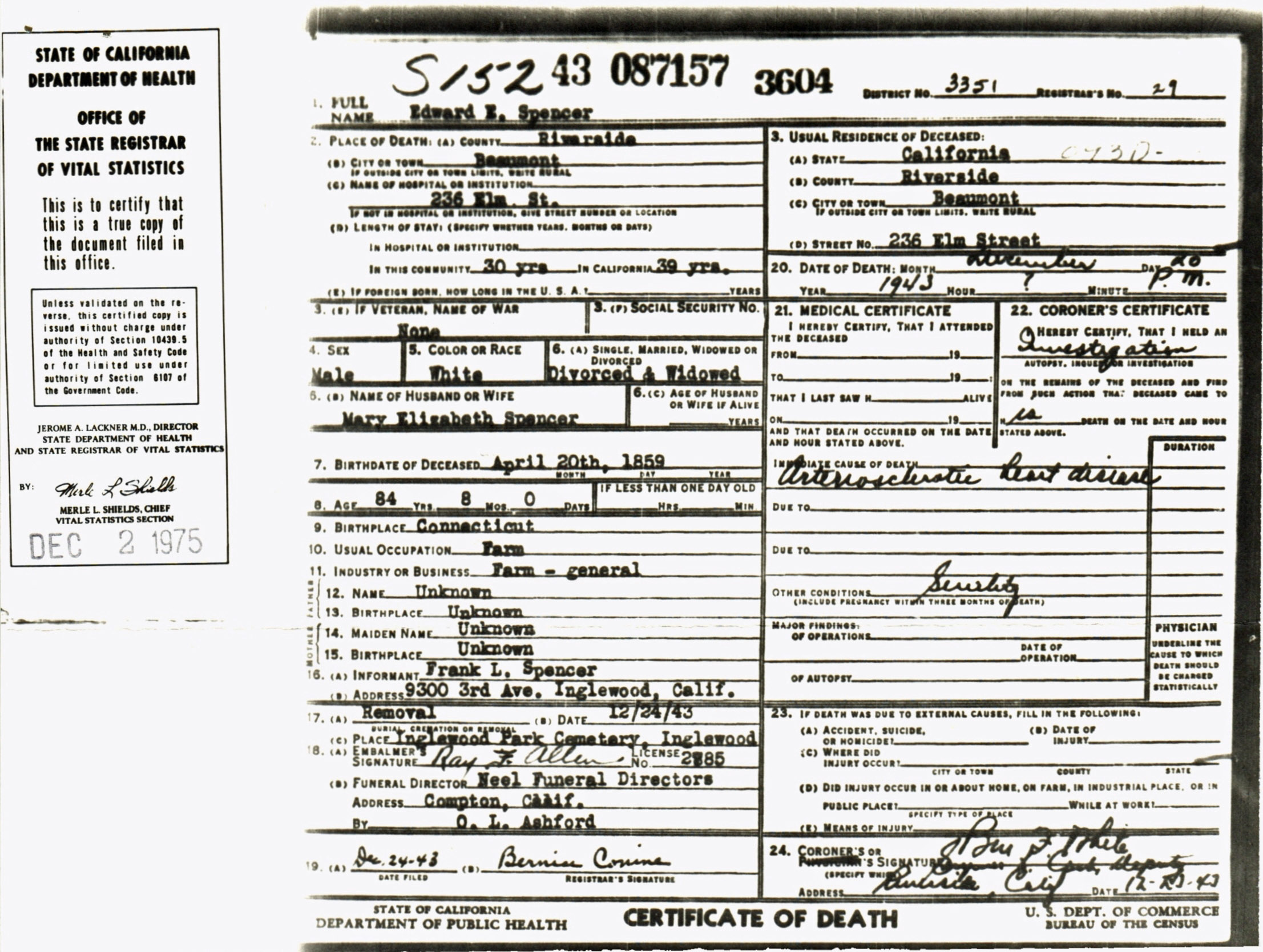 Documents Certificate Of Death For Edward E Spencer My Family Online