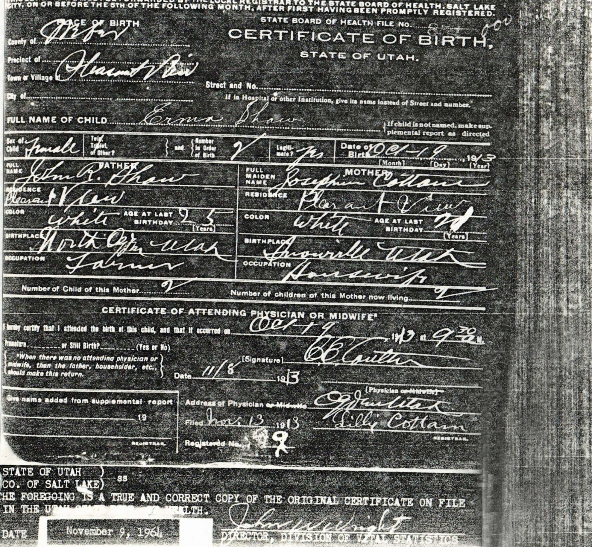 Documents Birth Certificate For Erma Shaw Staples 1913 My Family