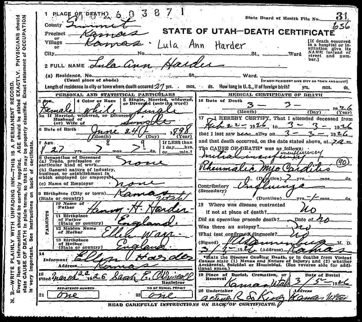 Documents: The Death Certificate of Lula Ann Harder: My Family Online