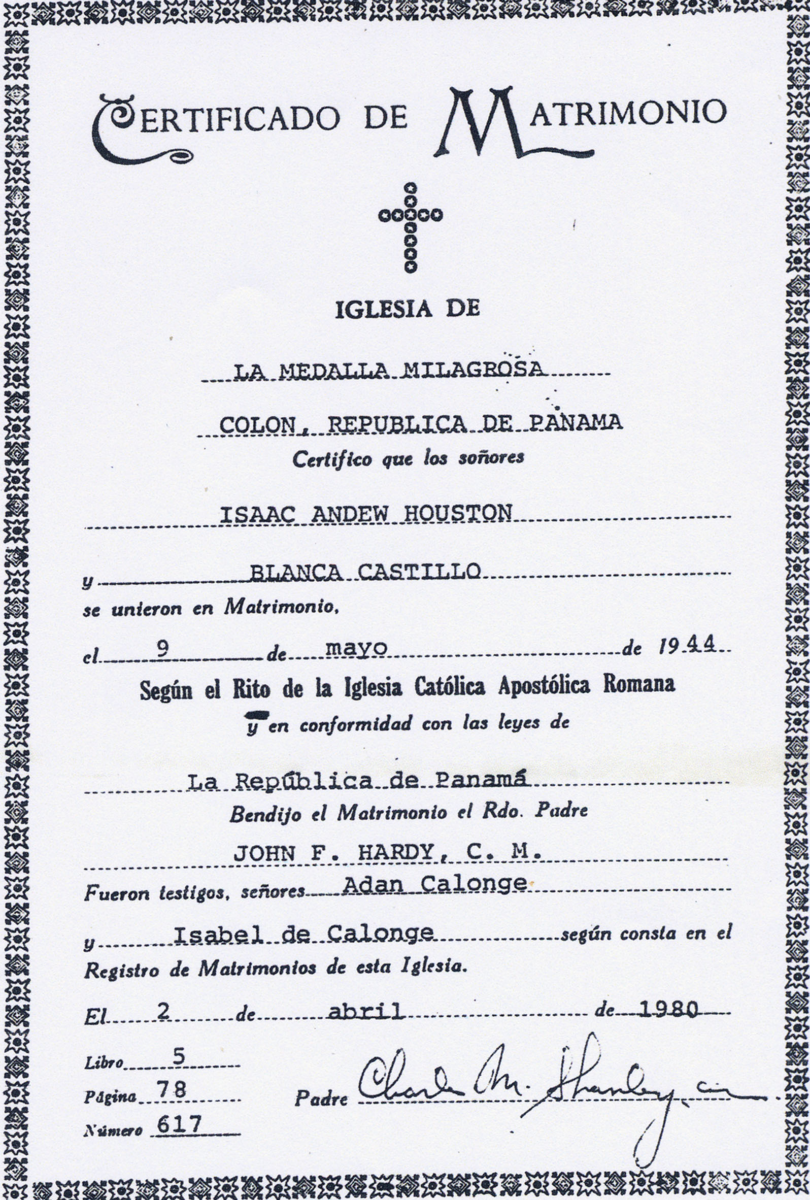 Documents Marriage Certificate For Isaac Andrew Houston And Blanca