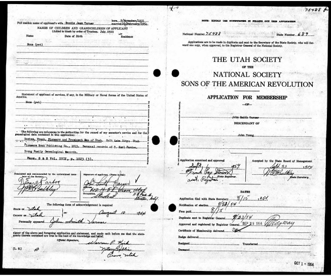 John Smith Varner: Sons of Revolution Application: 23 Sept 1954