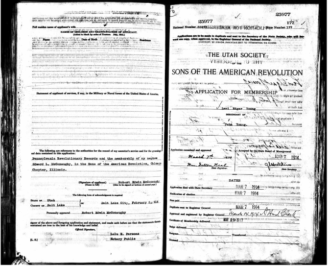 Levi Edgar Young: Sons of American Revolution Application: 7 Mar 1914