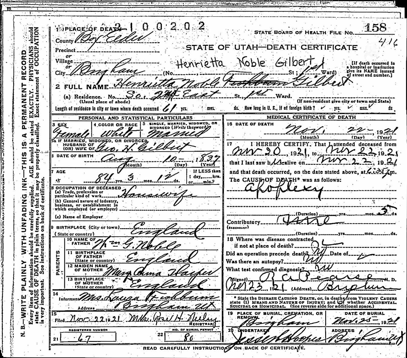 Documents 1921 Death Certificate For Henrietta Noble Gilbert My
