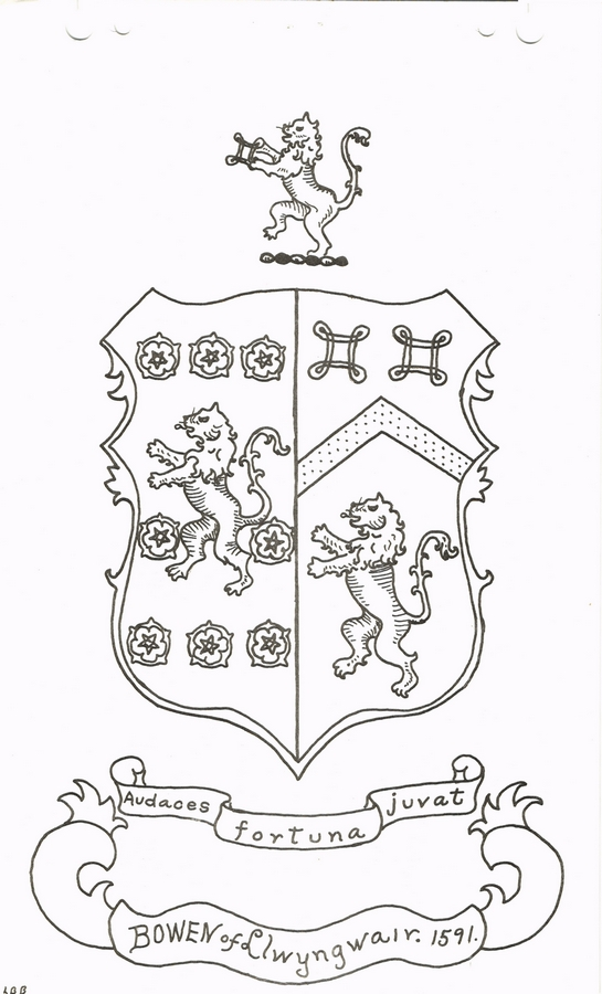The Bowen Coat of Arms, Shield and Crest