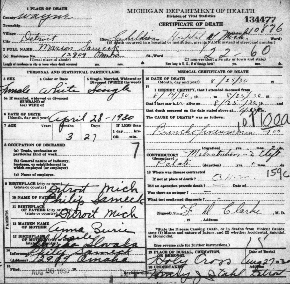 Documents Death Certificate For Marion Sameck 25 August 1930