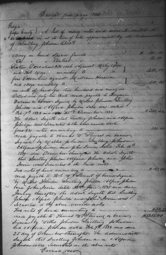 Snelling Johnson Inventory and Appointment - 17 July 1844