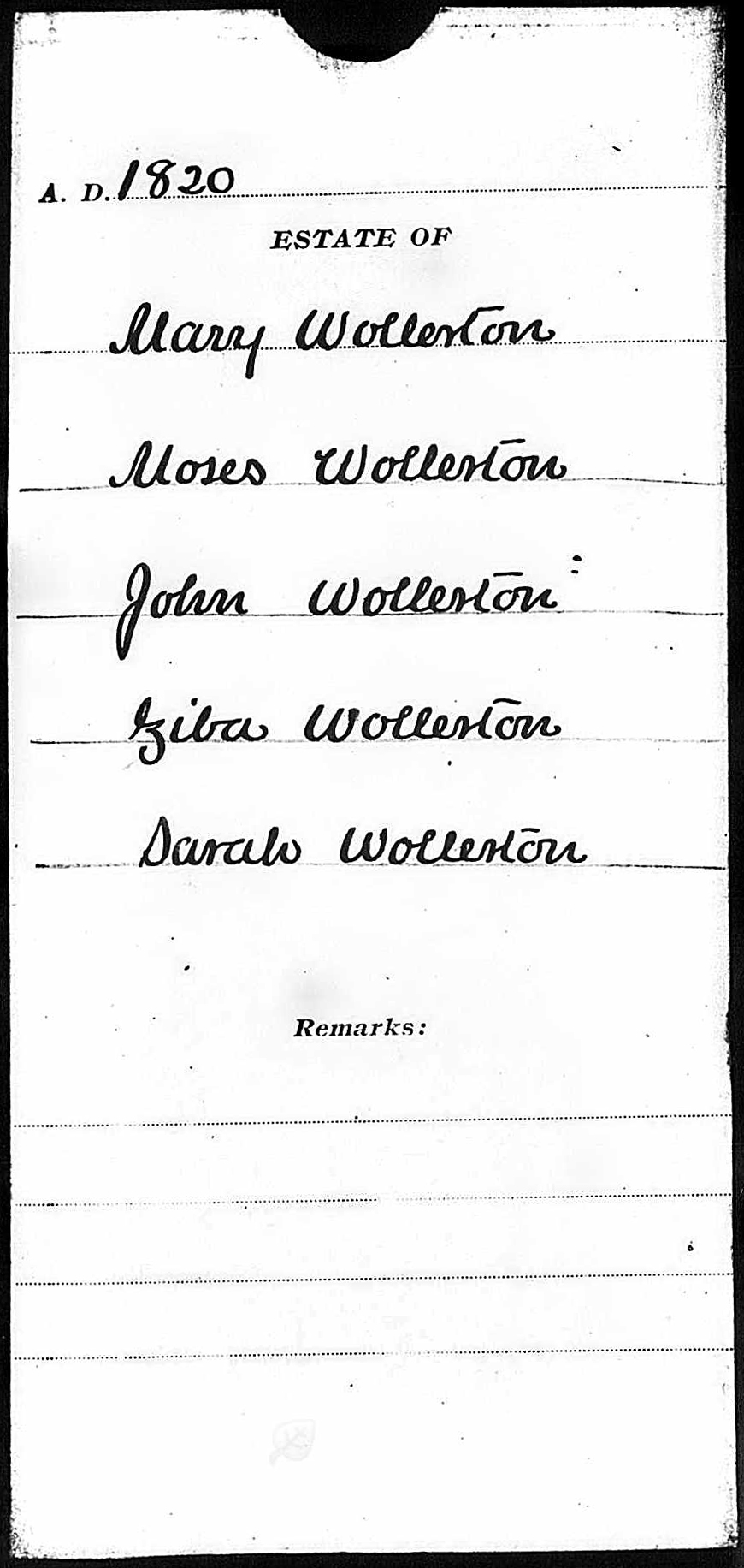 The Guaridanship of the Children of James Wollerton