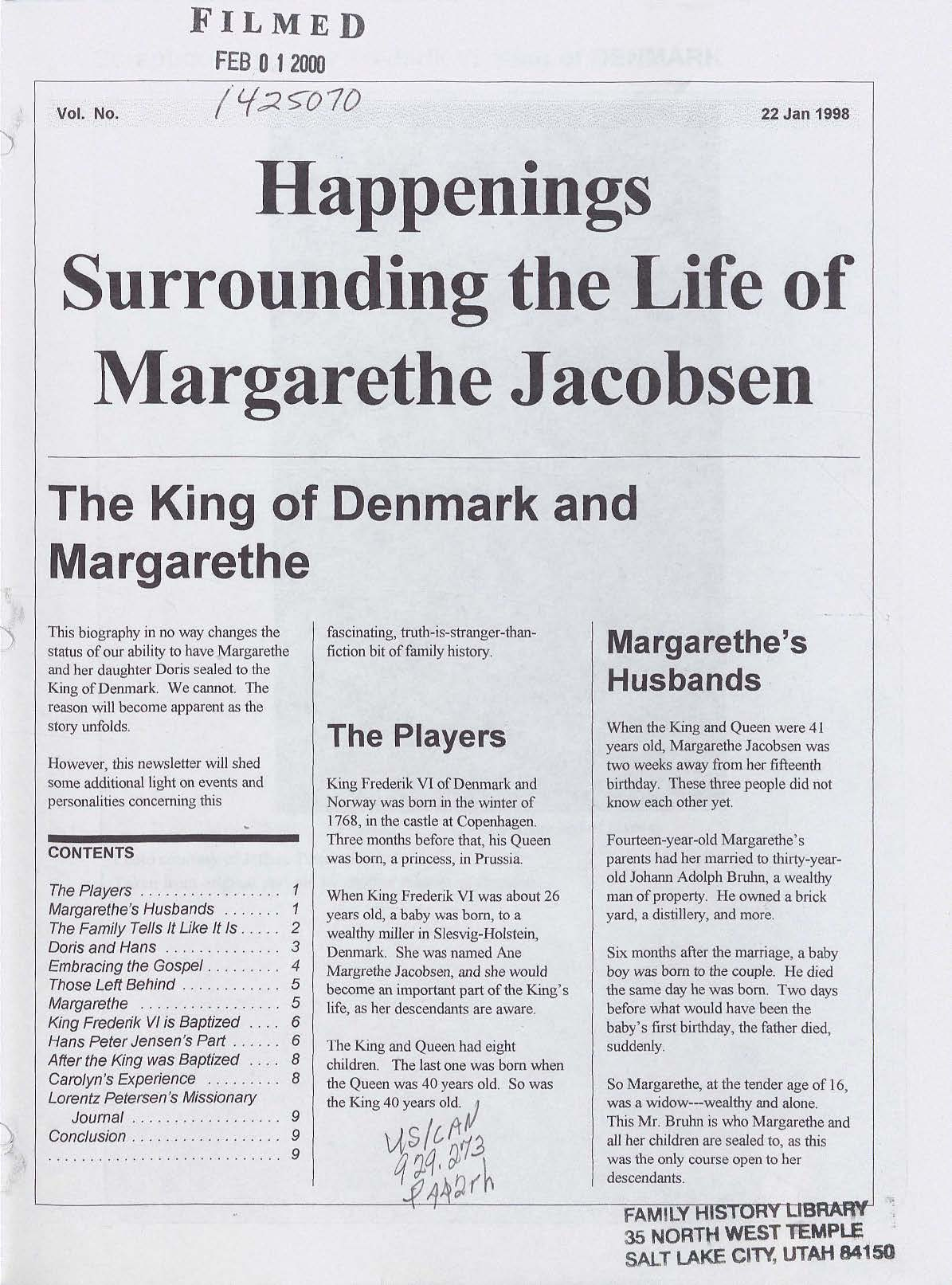 Happenings Surrounding the Life of Margarethe Jacobsen
