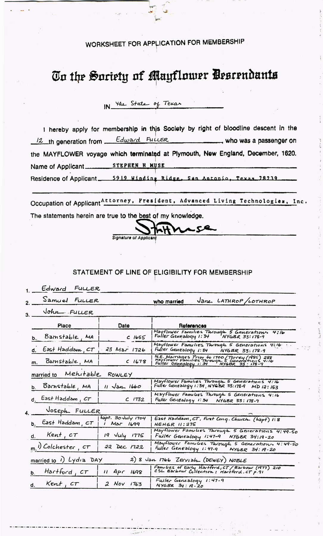 The Application For Membership To The Society Of Mayflower Descendants From  Stephen H. Muse To