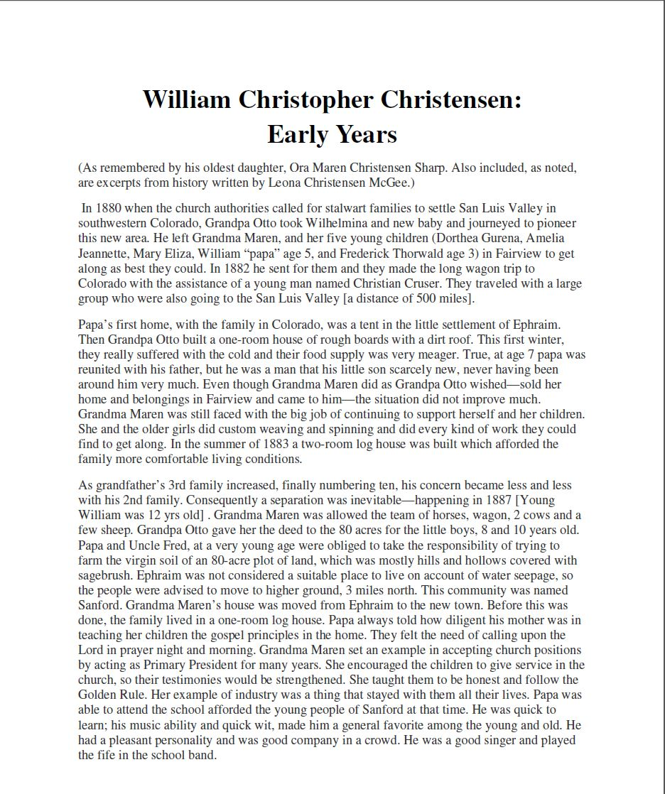 William Christopher Christensen: Early Years