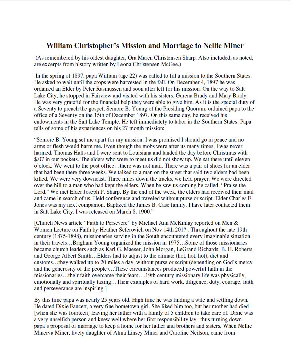 William Christopher's Mission and Marriage to Nellie Miner